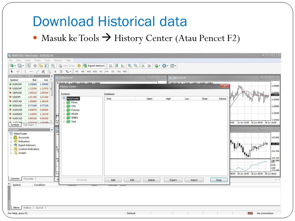 Download Historical data Masuk ke Tools  History Center (Atau Pencet F2)