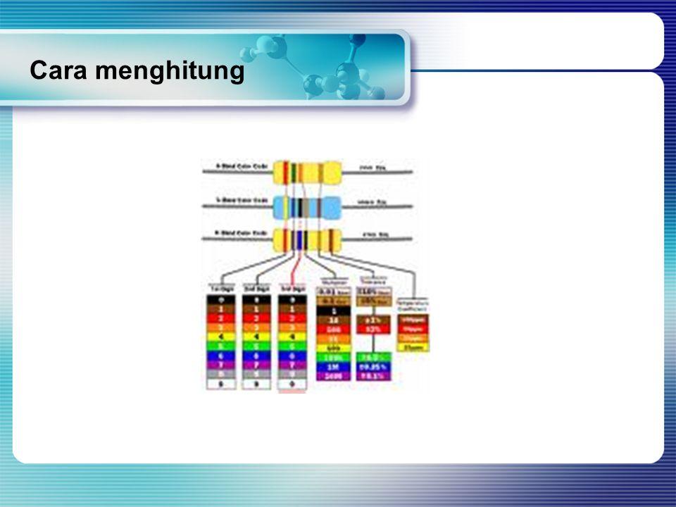Contoh menghitung resistor Hitung nilai tahanan resistor Kode warna : kuning, ungu, jingga emas Jawab : Kuning : 4Ungu :7jingga :1000emas:5% Nilainya : 47.000 Toleransi 5% = 47000 x 5% : 2,350 Harga resistor antara (47.000-2,350) sampai (47000+2.350) atau 44.650 sampai 49.350