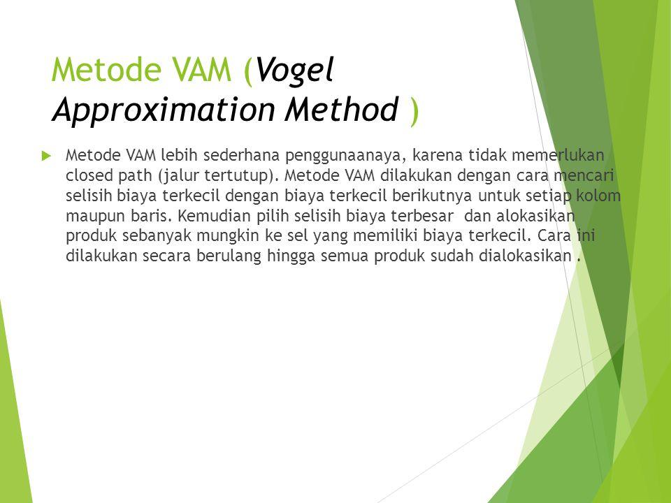 Metode VAM (Vogel Approximation Method )  Metode VAM lebih sederhana penggunaanaya, karena tidak memerlukan closed path (jalur tertutup). Metode VAM