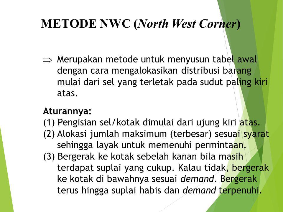 METODE NWC (North West Corner)  Merupakan metode untuk menyusun tabel awal dengan cara mengalokasikan distribusi barang mulai dari sel yang terletak