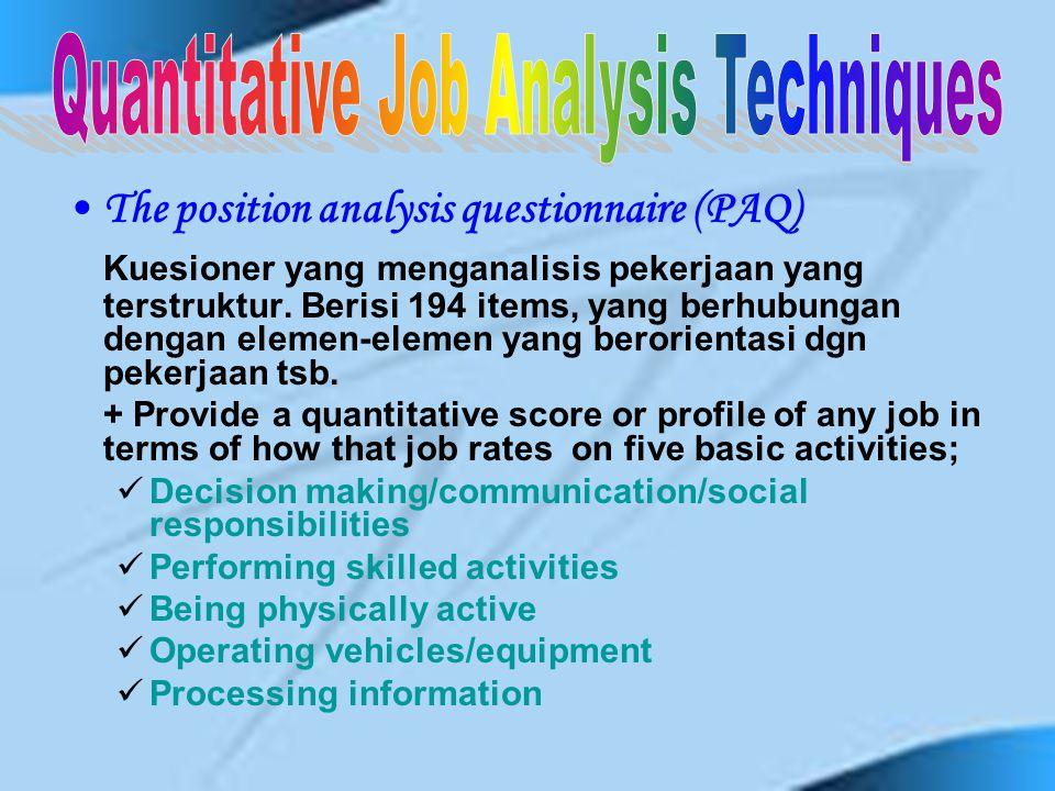 Position Analysis Questionnaire Management Position Description Questionnaire Guidelines-Oriented Job Analysis Department of Labor (DOL) Procedure Fun