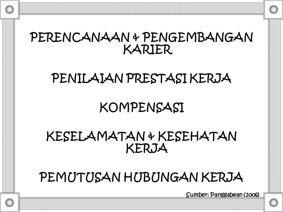PERENCANAAN & PENGEMBANGAN KARIER PENILAIAN PRESTASI KERJA KOMPENSASI KESELAMATAN & KESEHATAN KERJA PEMUTUSAN HUBUNGAN KERJA Sumber: Panggabean (2006)
