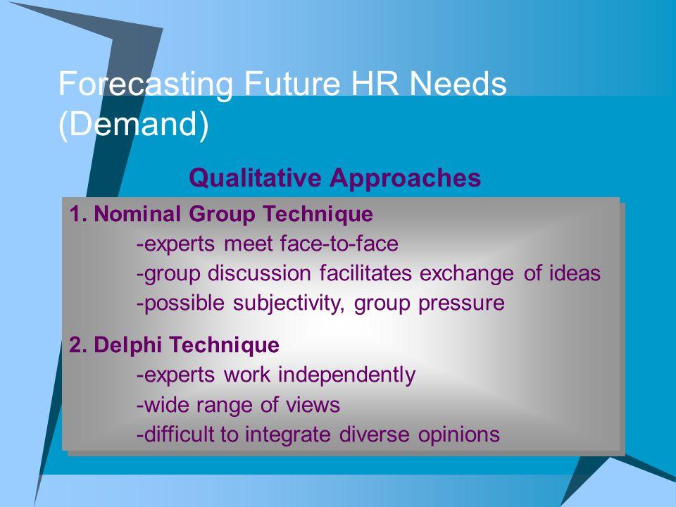 Forecasting Future HR Needs (Demand)  Zero- Base Forecasting  Bottom-Up Approach  Hubungan antara vol penjualan dengan jumlah karyawan yang dibutuh