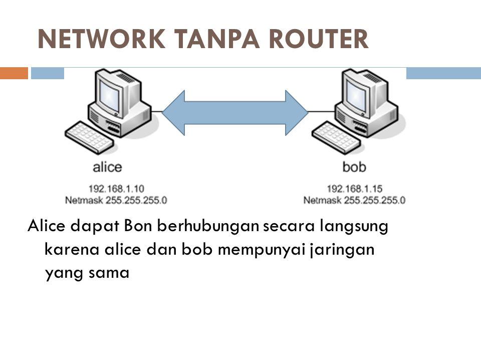 NETWORK TANPA ROUTER Alice dapat Bon berhubungan secara langsung karena alice dan bob mempunyai jaringan yang sama