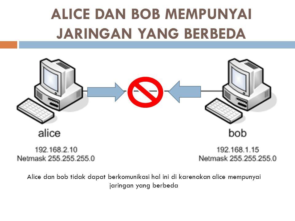 ALICE DAN BOB MEMPUNYAI JARINGAN YANG BERBEDA Alice dan bob tidak dapat berkomunikasi hal ini di karenakan alice mempunyai jaringan yang berbeda