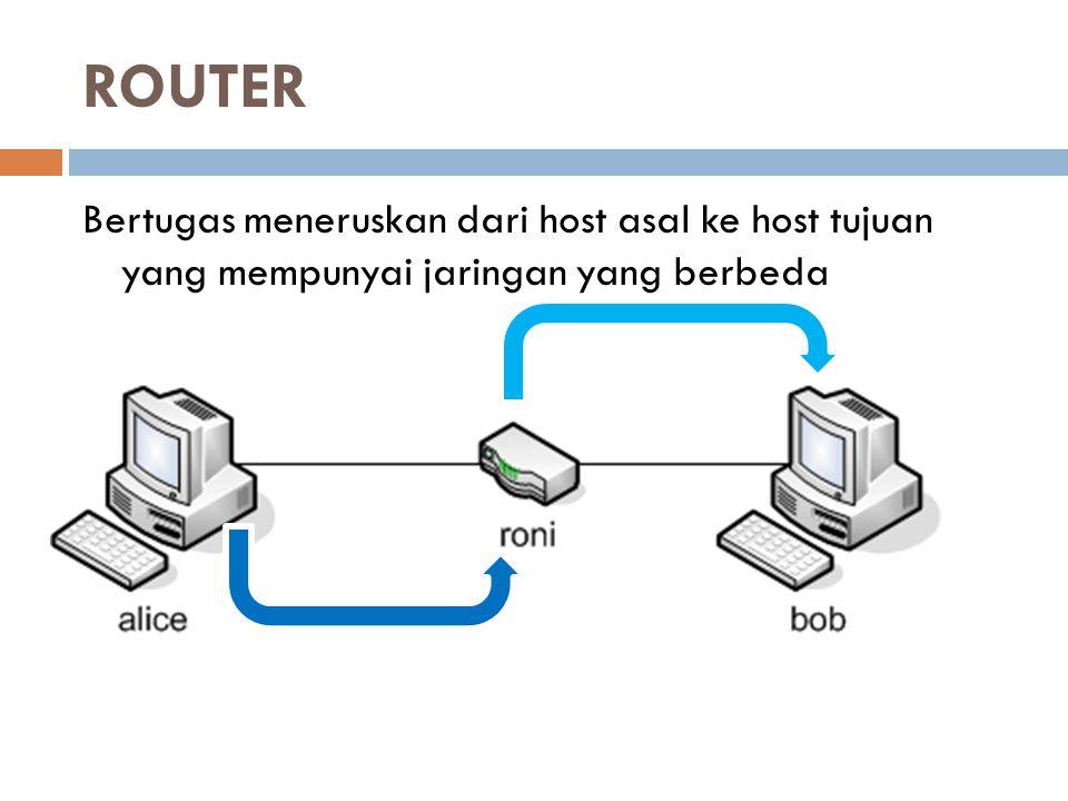 ROUTER Bertugas meneruskan dari host asal ke host tujuan yang mempunyai jaringan yang berbeda