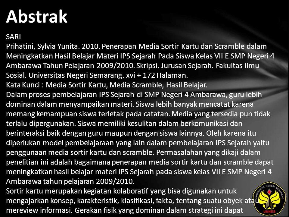 Kata Kunci Media Sortir Kartu, Media Scramble, Hasil Belajar.