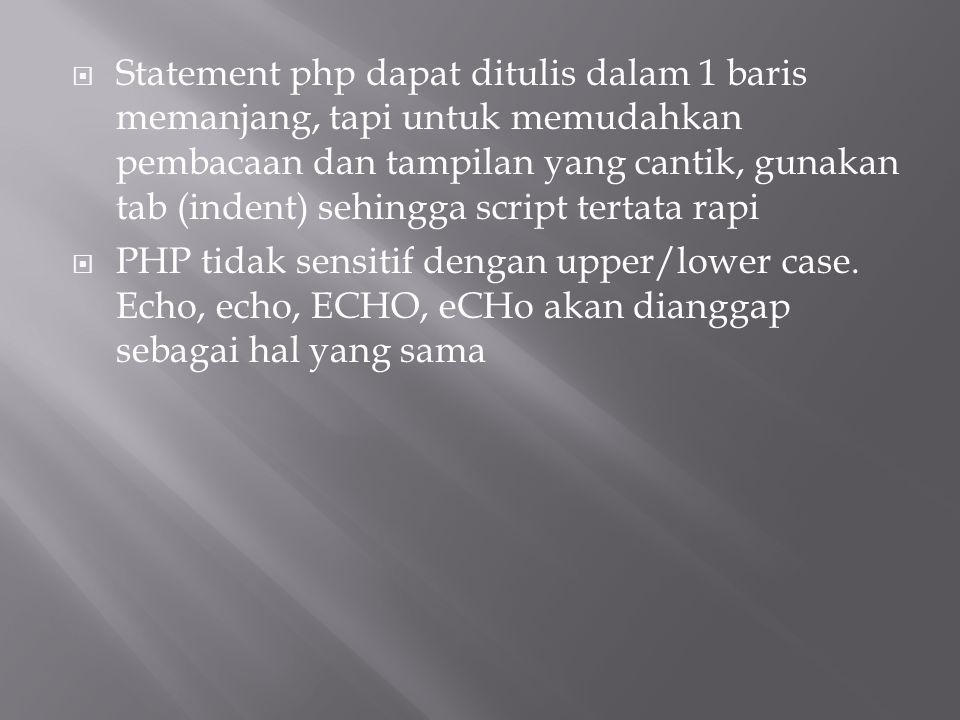  Statement php dapat ditulis dalam 1 baris memanjang, tapi untuk memudahkan pembacaan dan tampilan yang cantik, gunakan tab (indent) sehingga script