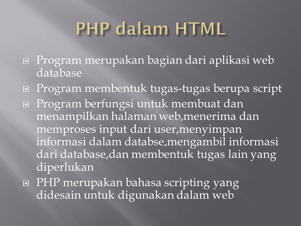  Program merupakan bagian dari aplikasi web database  Program membentuk tugas-tugas berupa script  Program berfungsi untuk membuat dan menampilkan