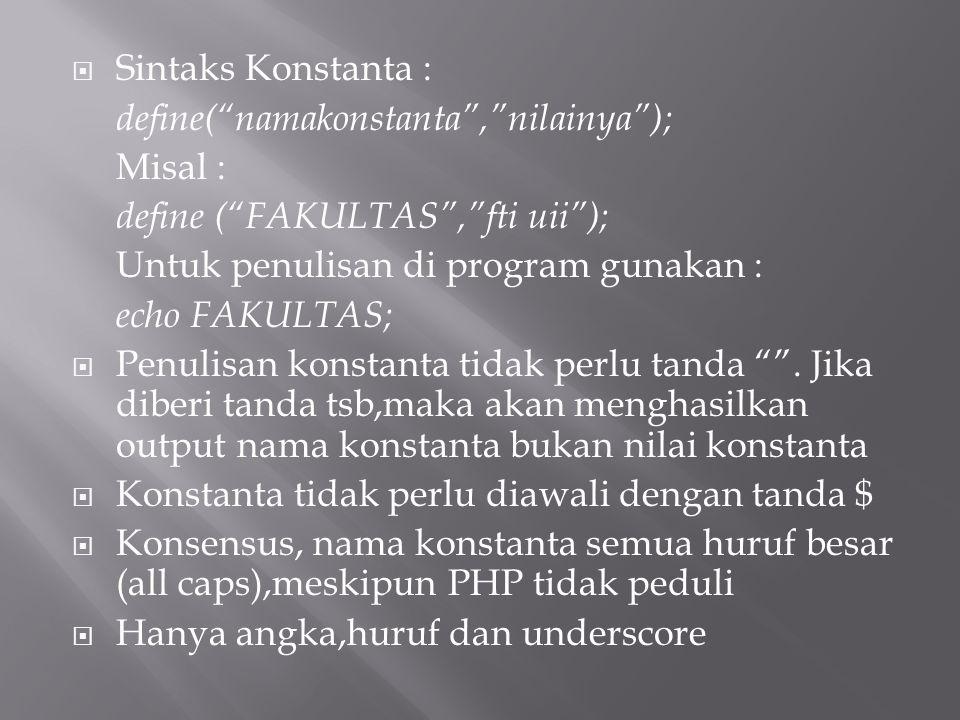 """ Sintaks Konstanta : define(""""namakonstanta"""",""""nilainya""""); Misal : define (""""FAKULTAS"""",""""fti uii""""); Untuk penulisan di program gunakan : echo FAKULTAS; """
