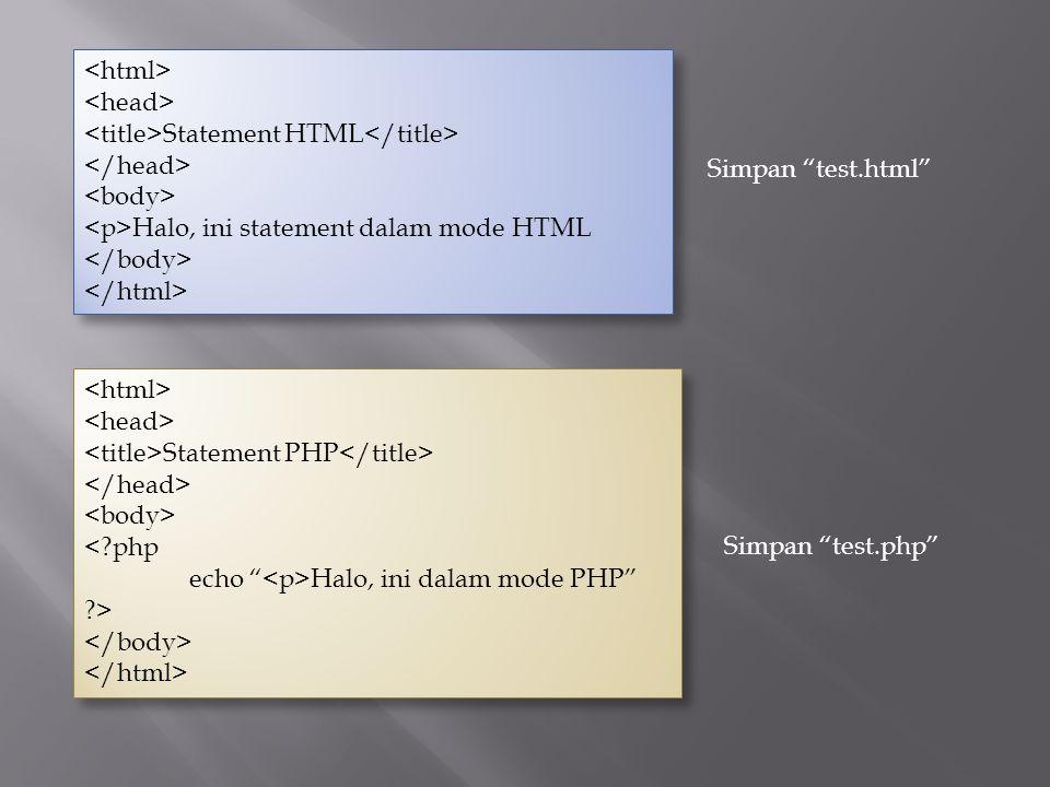"Statement HTML Halo, ini statement dalam mode HTML Statement HTML Halo, ini statement dalam mode HTML Statement PHP <?php echo "" Halo, ini dalam mode"
