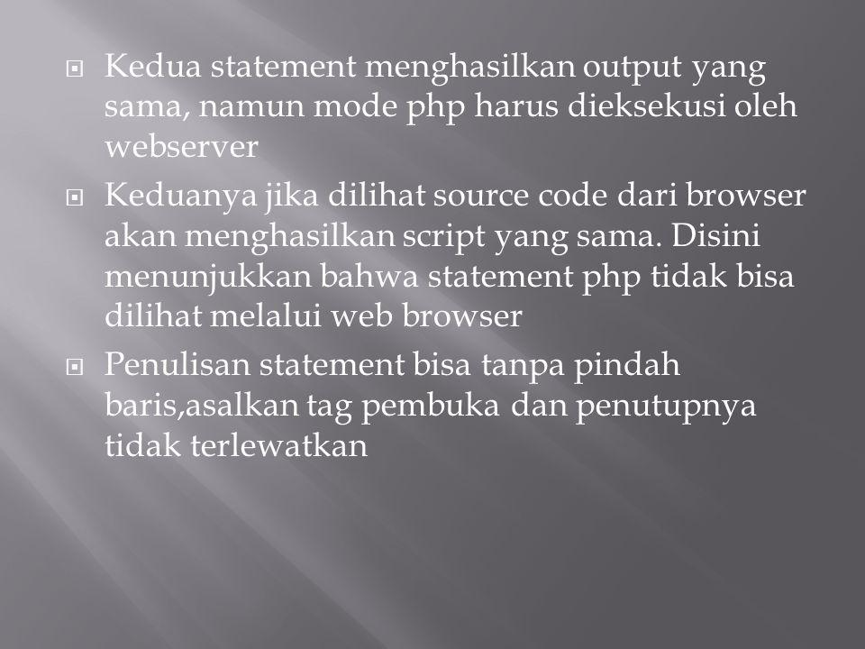  Kedua statement menghasilkan output yang sama, namun mode php harus dieksekusi oleh webserver  Keduanya jika dilihat source code dari browser akan