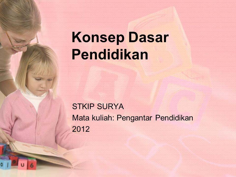 Konsep Dasar Pendidikan STKIP SURYA Mata kuliah: Pengantar Pendidikan 2012