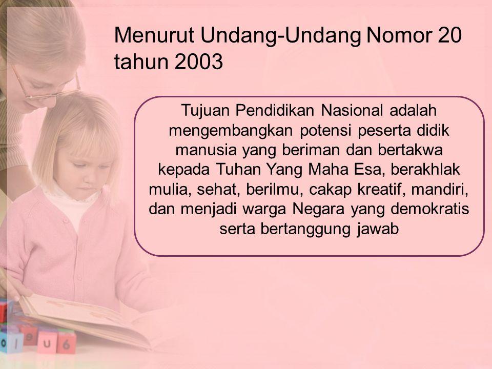 Menurut Undang-Undang Nomor 20 tahun 2003 Tujuan Pendidikan Nasional adalah mengembangkan potensi peserta didik manusia yang beriman dan bertakwa kepa