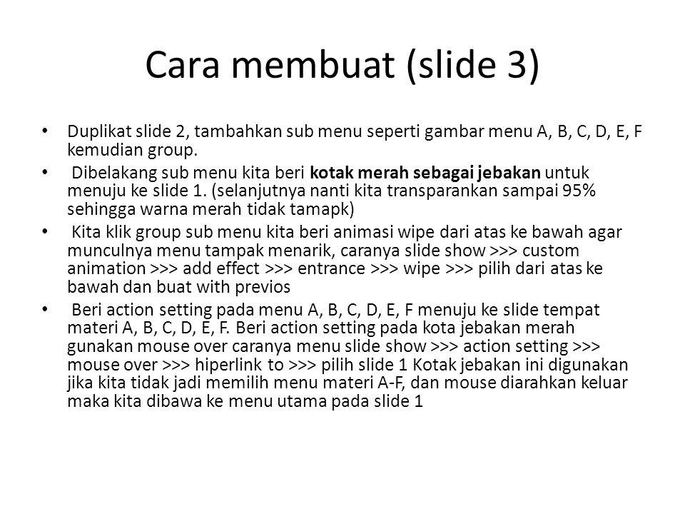 Cara membuat (slide 3) Duplikat slide 2, tambahkan sub menu seperti gambar menu A, B, C, D, E, F kemudian group. Dibelakang sub menu kita beri kotak m