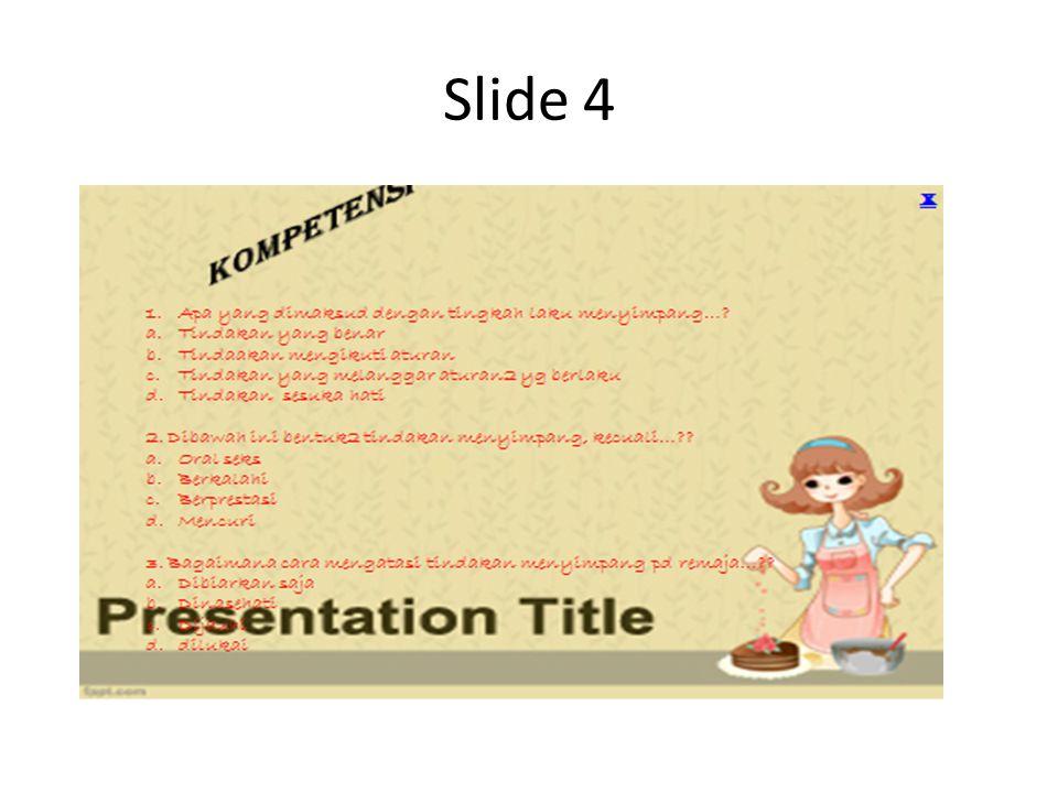 Cara membut slide 4 Kita tinggal menambahkan slide kompetensi, slide materi A sampai F, slide latihan, slide spu, slide referensi ( setiap slide 4 sampai seterusnya tambahkan menu home untuk kembali ke menu utama) Mudah-mudahan tutorial ini bisa membantu, bila ada masukan atau mengalami kesulitan silahkan didiskusikan di kolom komentar.