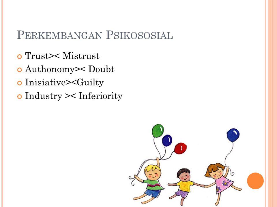 P ERKEMBANGAN P SIKOSOSIAL Trust>< Mistrust Authonomy>< Doubt Inisiative><Guilty Industry >< Inferiority