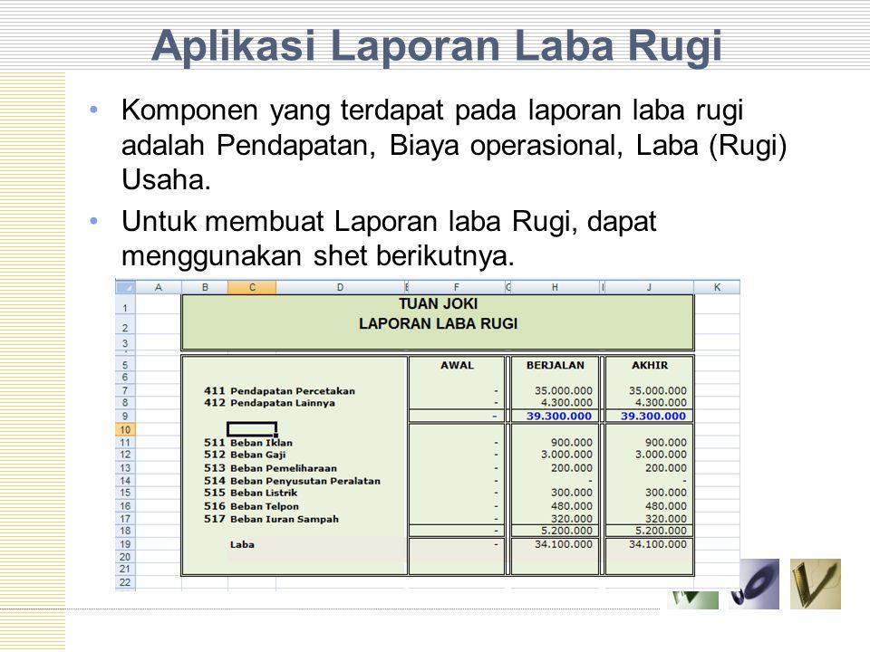 Aplikasi Laporan Laba Rugi Komponen yang terdapat pada laporan laba rugi adalah Pendapatan, Biaya operasional, Laba (Rugi) Usaha. Untuk membuat Lapora