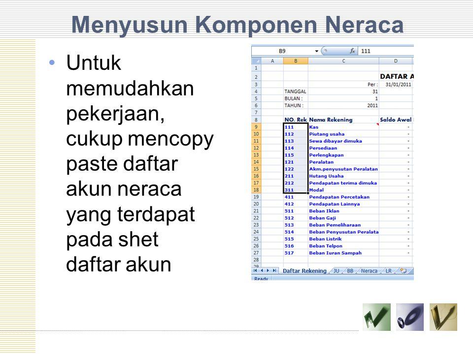 Menyusun Komponen Neraca Untuk memudahkan pekerjaan, cukup mencopy paste daftar akun neraca yang terdapat pada shet daftar akun