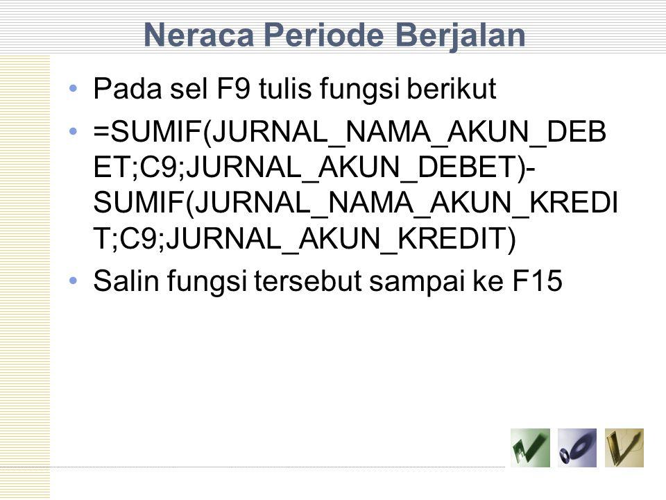 Neraca Periode Berjalan Pada sel F9 tulis fungsi berikut =SUMIF(JURNAL_NAMA_AKUN_DEB ET;C9;JURNAL_AKUN_DEBET)- SUMIF(JURNAL_NAMA_AKUN_KREDI T;C9;JURNA