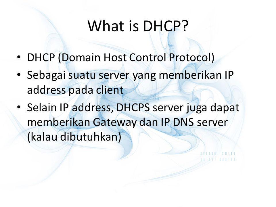 What is DHCP? DHCP (Domain Host Control Protocol) Sebagai suatu server yang memberikan IP address pada client Selain IP address, DHCPS server juga dap