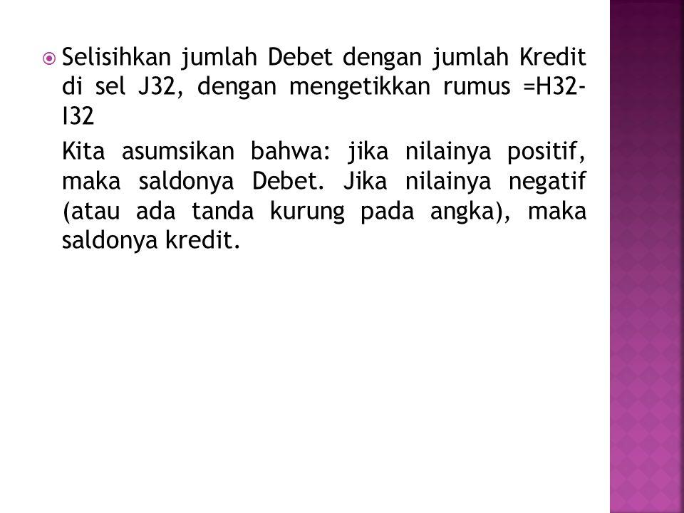  Selisihkan jumlah Debet dengan jumlah Kredit di sel J32, dengan mengetikkan rumus =H32- I32 Kita asumsikan bahwa: jika nilainya positif, maka saldonya Debet.
