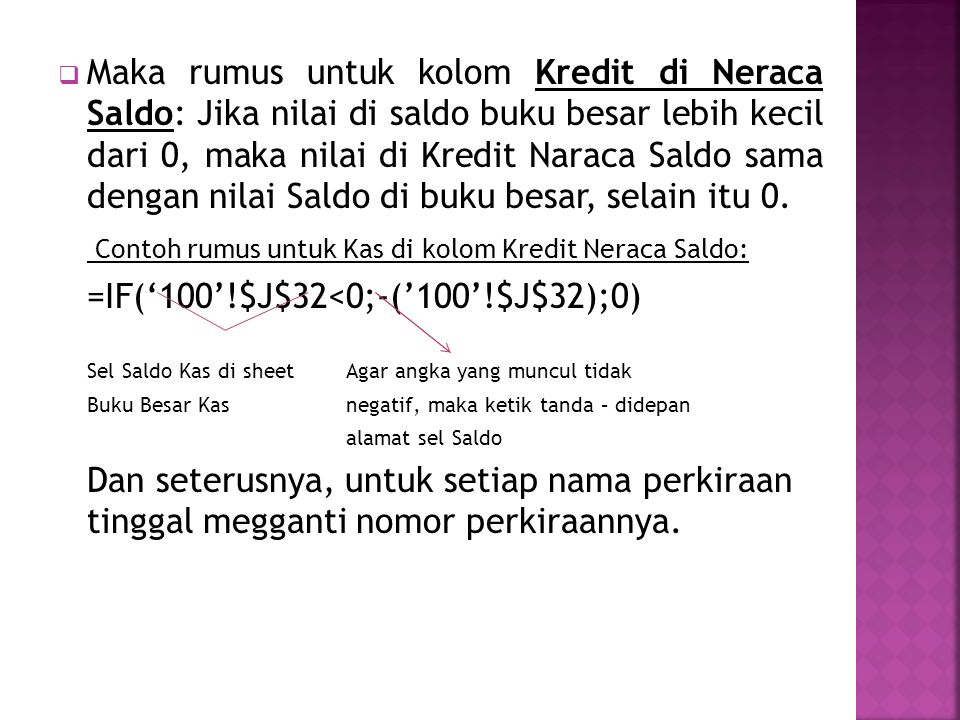  Maka rumus untuk kolom Kredit di Neraca Saldo: Jika nilai di saldo buku besar lebih kecil dari 0, maka nilai di Kredit Naraca Saldo sama dengan nilai Saldo di buku besar, selain itu 0.