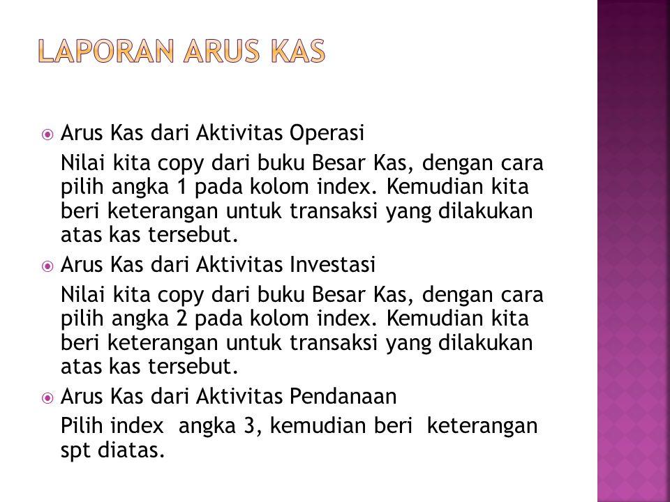  Arus Kas dari Aktivitas Operasi Nilai kita copy dari buku Besar Kas, dengan cara pilih angka 1 pada kolom index.