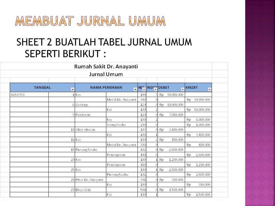 SHEET 2 BUATLAH TABEL JURNAL UMUM SEPERTI BERIKUT :