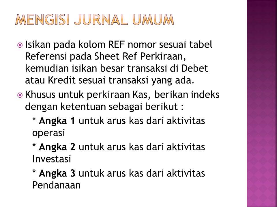  Isikan pada kolom REF nomor sesuai tabel Referensi pada Sheet Ref Perkiraan, kemudian isikan besar transaksi di Debet atau Kredit sesuai transaksi yang ada.