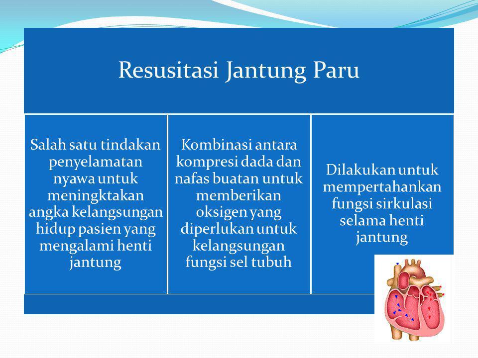 Segera mengenali tanda henti jantung dan mengaktifkan bantuan gawat darurat /ambulans Segera melakukan resusitasi jantung paru (RJP) atau Cardiopulmon