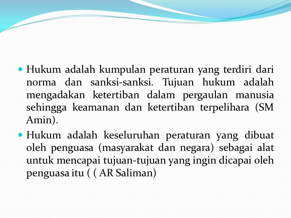 Hukum adalah suatu tata cara dan norma yang berlaku dalam suatu situasi, kondisi dan domisili (sikondom) pada wilayah tertentu (Djoko Santoso).