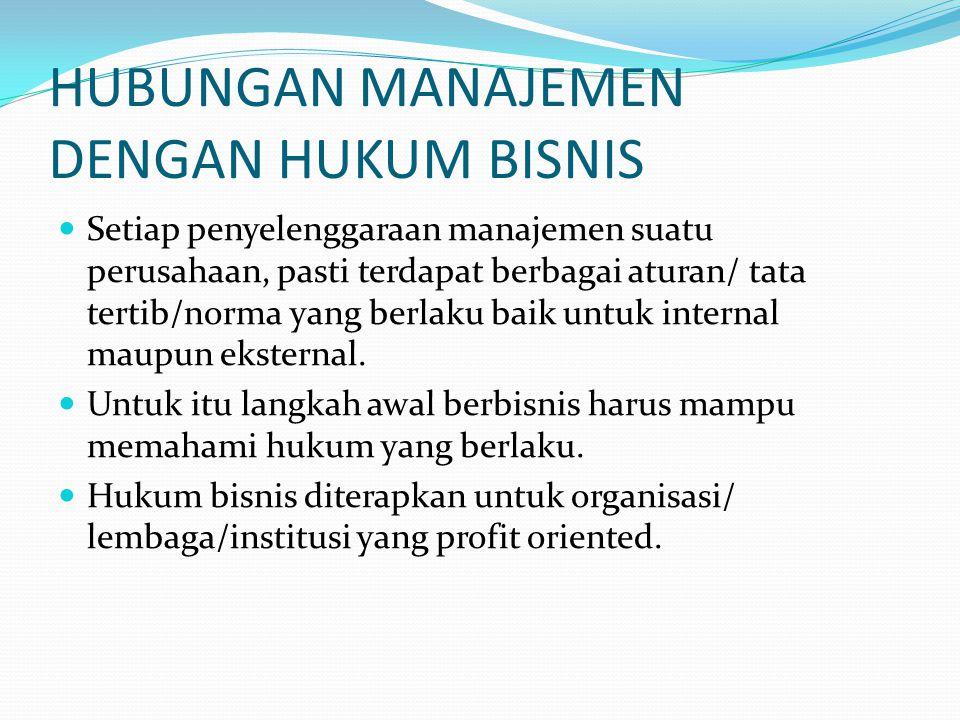 HUBUNGAN MANAJEMEN DENGAN HUKUM BISNIS Setiap penyelenggaraan manajemen suatu perusahaan, pasti terdapat berbagai aturan/ tata tertib/norma yang berlaku baik untuk internal maupun eksternal.