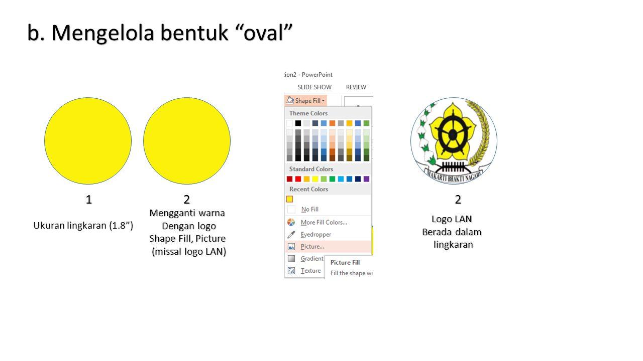 "Ukuran lingkaran (1.8"") 1 Mengganti warna Dengan logo Shape Fill, Picture (missal logo LAN) 22 Logo LAN Berada dalam lingkaran b. Mengelola bentuk ""ov"