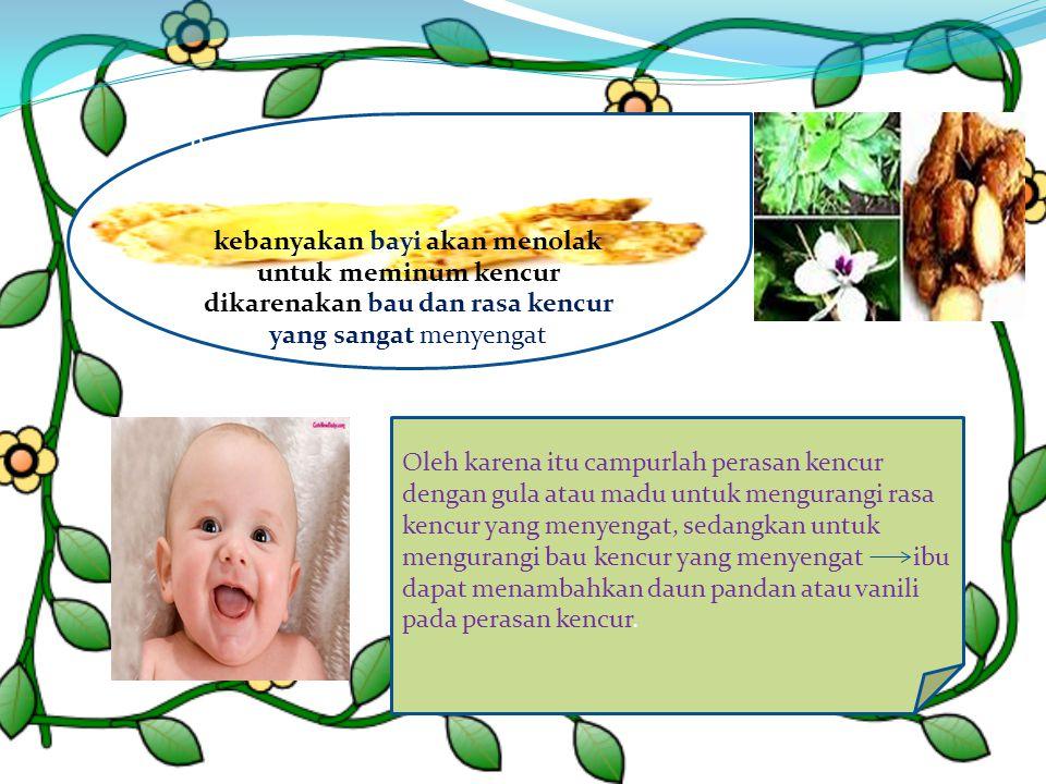 Penggunaan kencur untuk bayi dengan kebanyakan bayi akan menolak untuk meminum kencur dikarenakan bau dan rasa kencur yang sangat menyengat Oleh karen