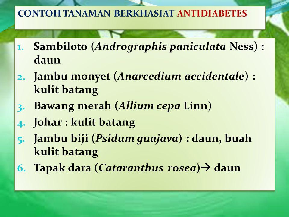 1. Sambiloto (Andrographis paniculata Ness) : daun 2. Jambu monyet (Anarcedium accidentale) : kulit batang 3. Bawang merah (Allium cepa Linn) 4. Johar