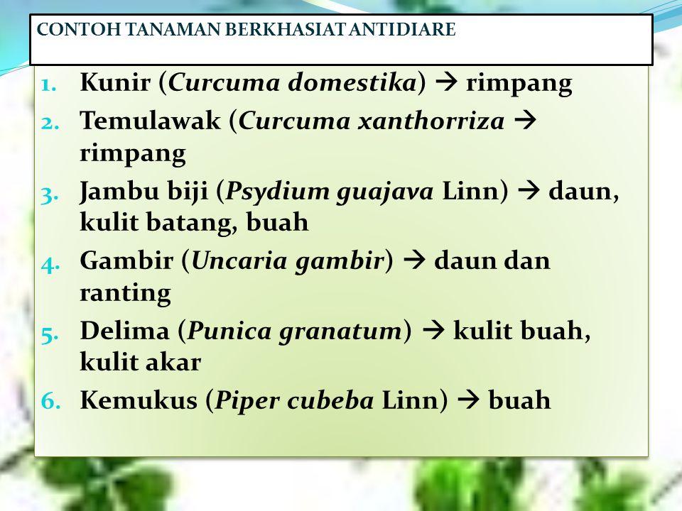 1. Kunir (Curcuma domestika)  rimpang 2. Temulawak (Curcuma xanthorriza  rimpang 3. Jambu biji (Psydium guajava Linn)  daun, kulit batang, buah 4.