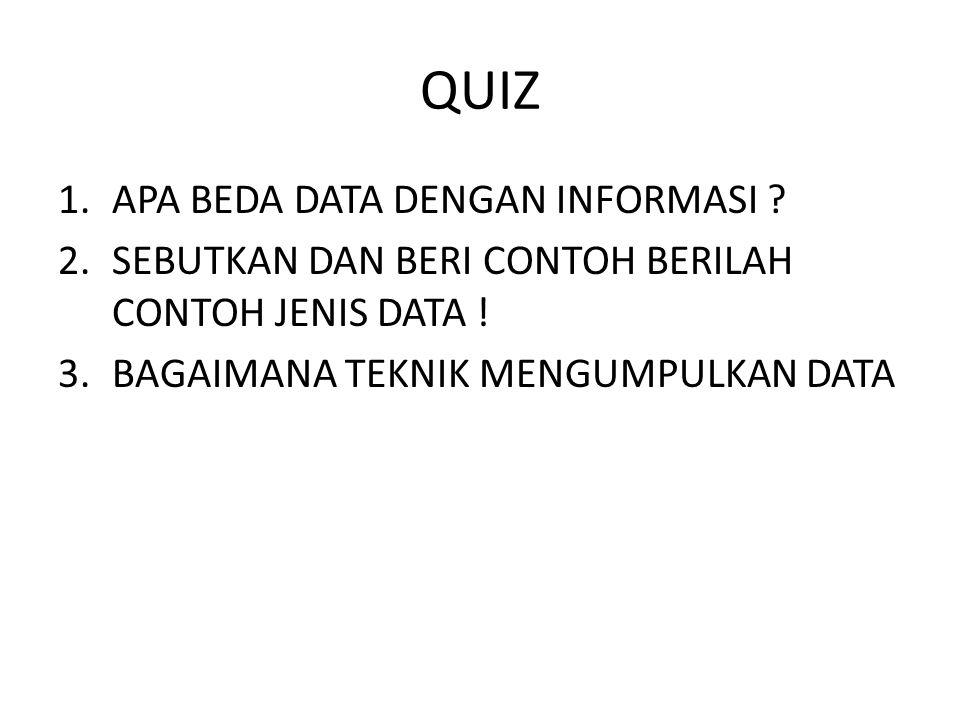QUIZ 1.APA BEDA DATA DENGAN INFORMASI ? 2.SEBUTKAN DAN BERI CONTOH BERILAH CONTOH JENIS DATA ! 3.BAGAIMANA TEKNIK MENGUMPULKAN DATA