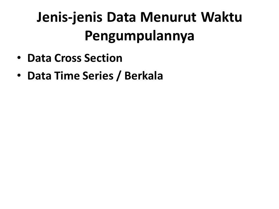 Jenis-jenis Data Menurut Waktu Pengumpulannya Data Cross Section Data Time Series / Berkala