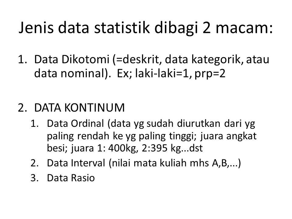 Jenis data statistik dibagi 2 macam: 1.Data Dikotomi (=deskrit, data kategorik, atau data nominal). Ex; laki-laki=1, prp=2 2.DATA KONTINUM 1.Data Ordi