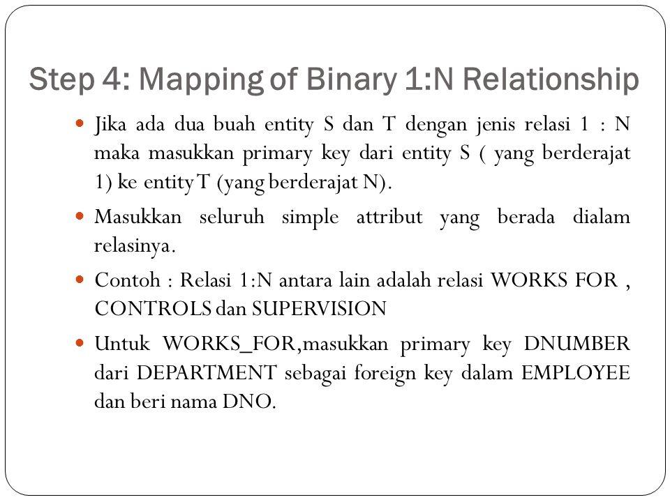 Step 4: Mapping of Binary 1:N Relationship Jika ada dua buah entity S dan T dengan jenis relasi 1 : N maka masukkan primary key dari entity S ( yang b