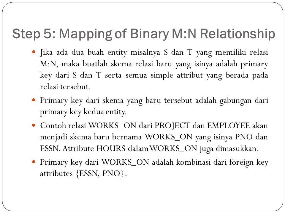 Step 5: Mapping of Binary M:N Relationship Jika ada dua buah entity misalnya S dan T yang memiliki relasi M:N, maka buatlah skema relasi baru yang isi