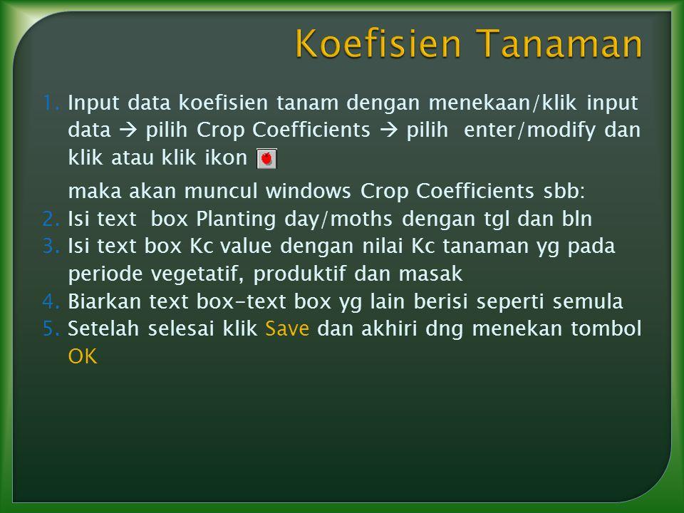 1.Input data koefisien tanam dengan menekaan/klik input data  pilih Crop Coefficients  pilih enter/modify dan klik atau klik ikon maka akan muncul w