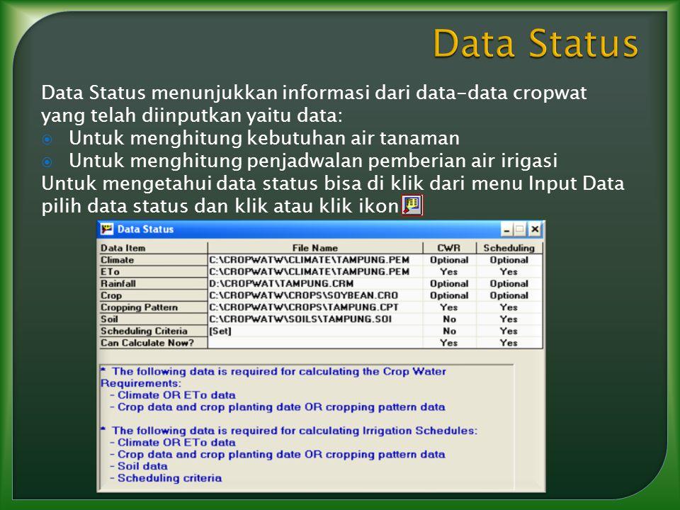 Data Status menunjukkan informasi dari data-data cropwat yang telah diinputkan yaitu data:  Untuk menghitung kebutuhan air tanaman  Untuk menghitung