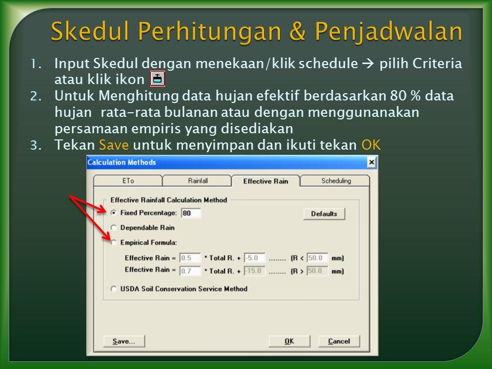 1. Input Skedul dengan menekaan/klik schedule  pilih Criteria atau klik ikon 2. Untuk Menghitung data hujan efektif berdasarkan 80 % data hujan rata-