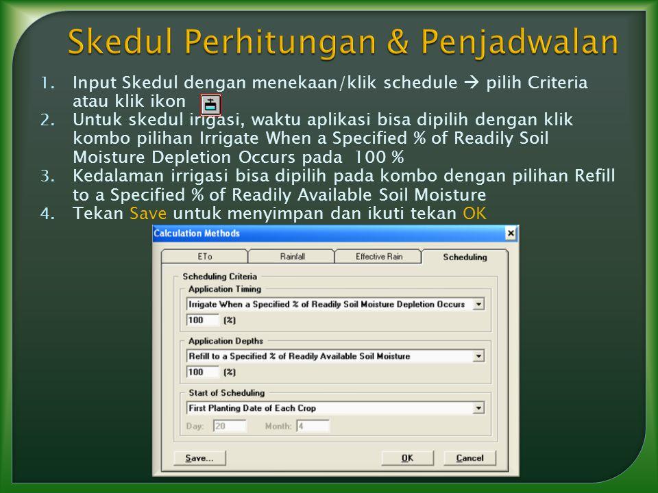 1. Input Skedul dengan menekaan/klik schedule  pilih Criteria atau klik ikon 2. Untuk skedul irigasi, waktu aplikasi bisa dipilih dengan klik kombo p