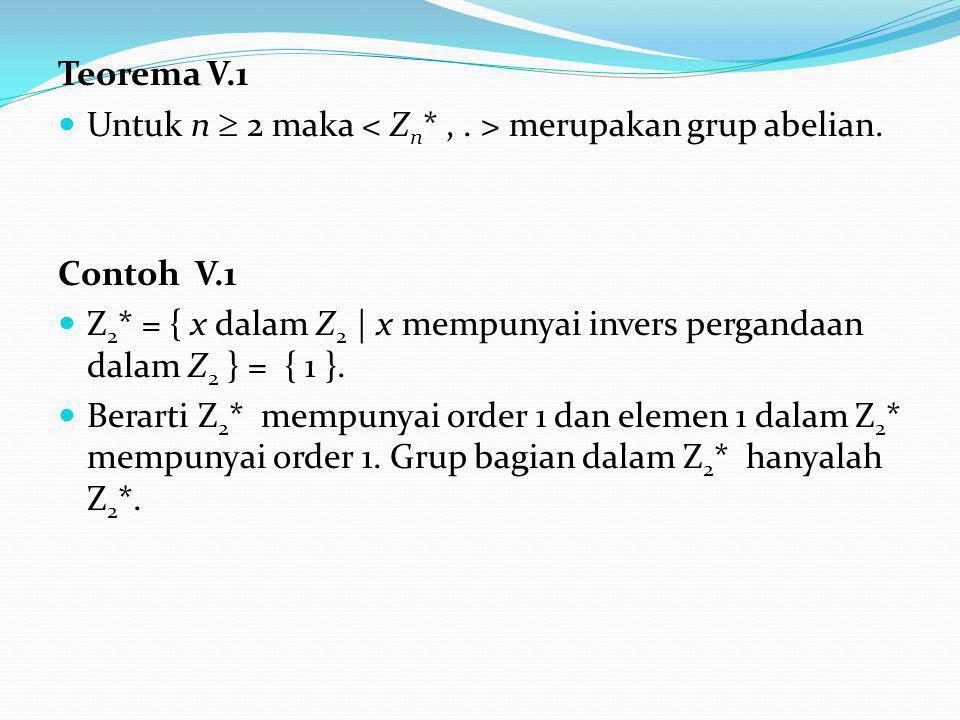 Teorema V.1 Untuk n  2 maka merupakan grup abelian.