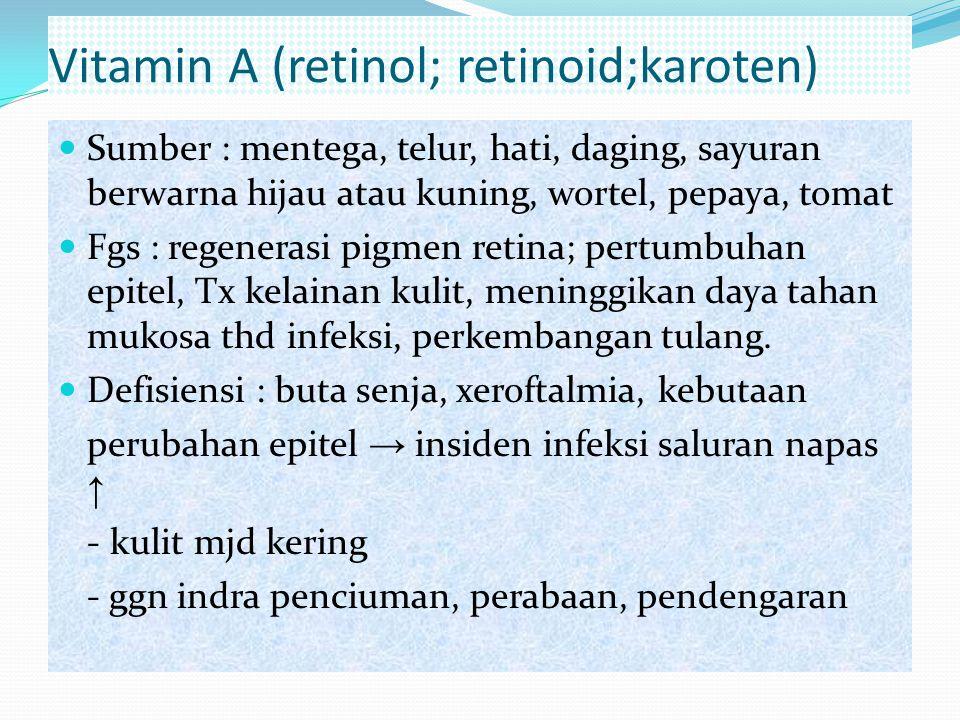 Vitamin A (retinol; retinoid;karoten) Sumber : mentega, telur, hati, daging, sayuran berwarna hijau atau kuning, wortel, pepaya, tomat Fgs : regeneras