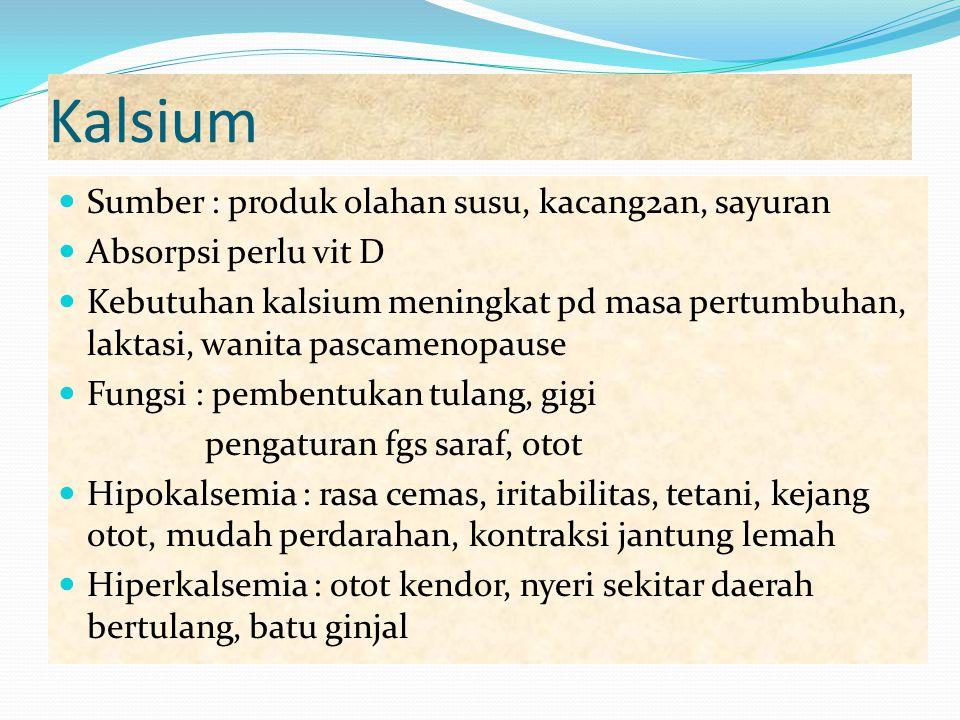 Kalsium Sumber : produk olahan susu, kacang2an, sayuran Absorpsi perlu vit D Kebutuhan kalsium meningkat pd masa pertumbuhan, laktasi, wanita pascamen