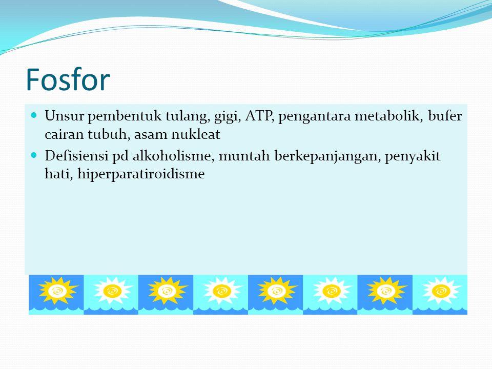 Fosfor Unsur pembentuk tulang, gigi, ATP, pengantara metabolik, bufer cairan tubuh, asam nukleat Defisiensi pd alkoholisme, muntah berkepanjangan, pen